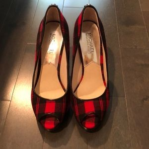 Michael kors black and red plaid
